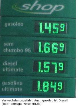 gasolina, gasoelo, e10, Benzin, Diesel, Sorten, Portugal