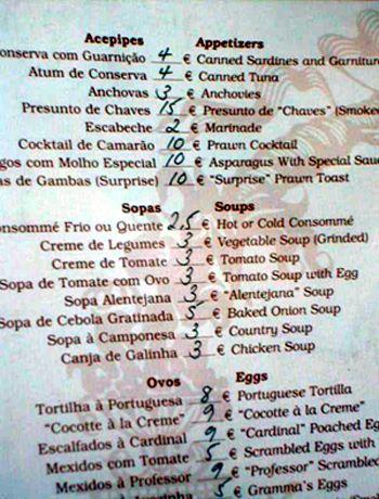 Preise Restaurant Portugal